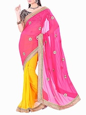 Multicolored Chiffon Embroidered Saree - By