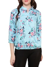light blue floral printed crepe top -  online shopping for Tops