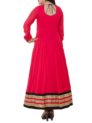 red georgette anarkali suits stitched suit - 13196158 - Standard Image - 3