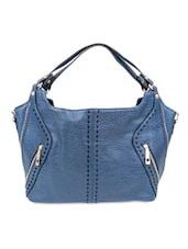 Blue Faux Leather Hobo Shoulder Bag - By