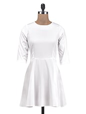 White Poly Crepe Solid A-Line Dress - By