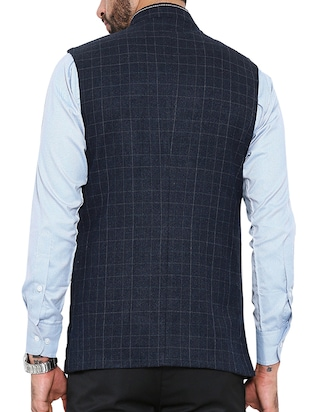 navy blue cotton nehru jacket - 13207000 - Standard Image - 3