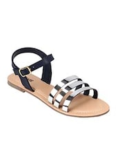 Navy blue strappy leatherette flats -  online shopping for sandals