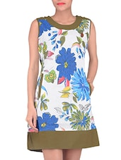 White And Green Cotton Dress - By