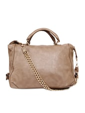 Solid Brown Faux Leather Textured Handbag - By