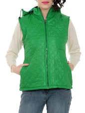Green Hooded Sleeveless Quilted Jacket - By