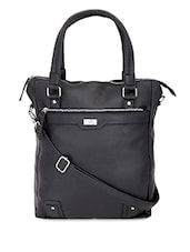 Solid Black Leatherette Vertical Laptop Bag - By