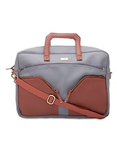 Grey And Brown Leatherette Laptop Bag - By