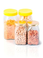 Gold  Yellow Square Glass Jar Set - By - 1324841