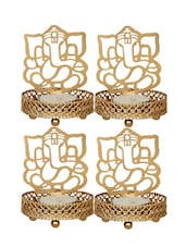 Anasa Decorative Shadow Divine Lord  Ganesha Ganpati Ji Tealight Candle Holder Light With Tealight Set Of 4 (Golden 4 Inch) - By