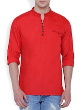 solid red rayon kurta -  online shopping for Kurtas