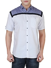 white and blue colour block cotton casual shirt -  online shopping for casual shirts