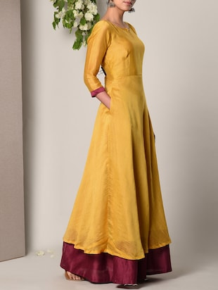 yellow solid gown - 13266848 - Standard Image - 3