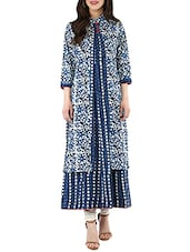 Blue Cotton Block Printed A-line Kurta - By