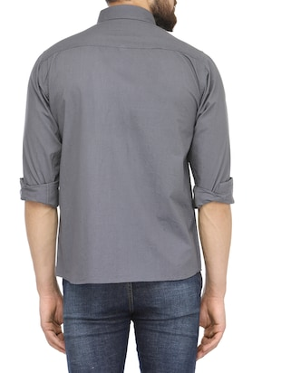 grey cotton casual shirt - 13269582 - Standard Image - 3