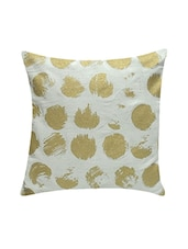 Ambbi Collection Printed Cotton Cushion Cover With Distorted Gold Dots - By