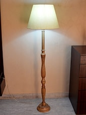 Beige Tussar Silk And Wooden Floor Lamp - By