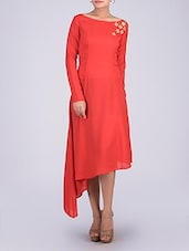 Red Boat Neck Full Sleeved Georgette Dress - By