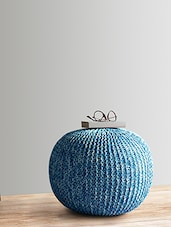 Blue And White  Knitted Cotton Pouf - By
