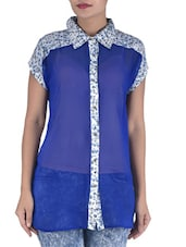 Blue Georgette And Crepe Floral Printed Top - By