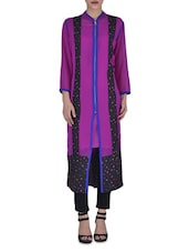 Purple Georgette And Crepe Printed Front Zipper Kurti - By