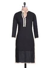 Black Cotton Kurta With Mandarin Collar - By