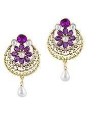 Purple Stone Embellished Polki Drop Earrings - By