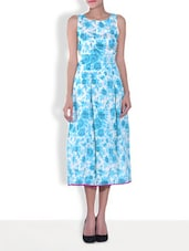 Blue Silk Floral Printed Sleeveless A-Line Dress - By