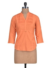 Solid Orange Cotton Top With Mandarin Collar - By