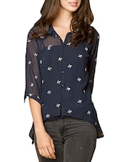 navy blue georgette shirt -  online shopping for Shirts