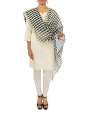 Black And White Checkered Chanderi Stole - By
