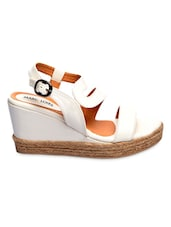 White Buckled Faux Leather Platform Wedge Sandals - By