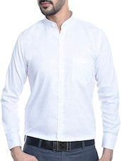 solid white cotton blend formal shirt -  online shopping for formal shirts