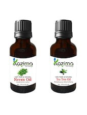 Combo Of Neem Carrier  Oil And Tea Tree Oil For Hair Growth, Skin Care (Each 15ML)- 100% Pure Natural Oil - By