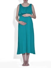 Solid Turquoise Blue Viscose Maxi Maternity Dress - By