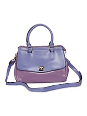 Purple Leatherette Structured Sling Bag - By