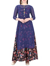 Blue Georgette Printed Layered Kurta - By