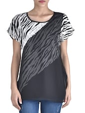 Black Poly Crepe Animal Printed  Layered Top - By