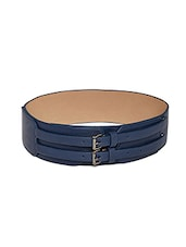 Navy Blue Leatherette Broad Belt - By