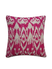 Pink Cotton Printed And Kantha Worked Cushion Cover - By