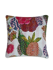 White Cotton Printed And Kantha Worked Cushion Cover - By