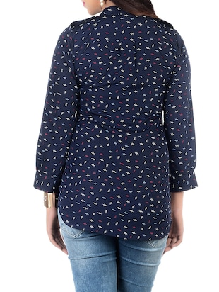 navy blue printed crepe top - 13352572 - Standard Image - 3