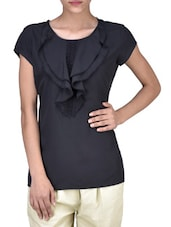 Black American Crepe Solid Top With Ruffles - By
