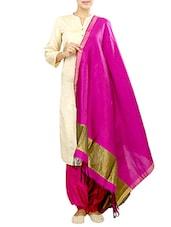 Pink Silk Plain Dupatta - By