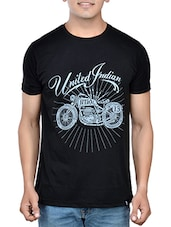 black cotton chest print tshirt -  online shopping for T-Shirts