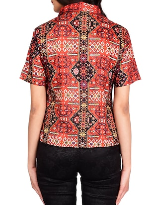red cotton shirt - 13377087 - Standard Image - 3