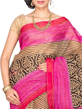 pink cotton blend printed saree with blouse - 13408702 - Standard Image - 3