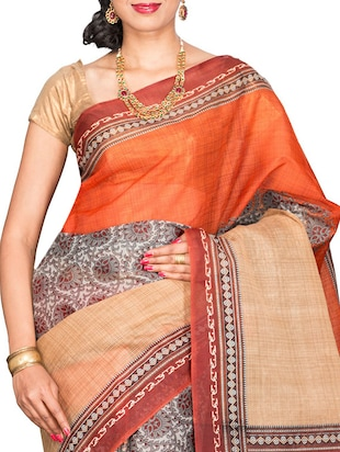 orange cotton blend printed saree with blouse - 13408711 - Standard Image - 3