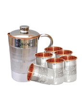 AsiaCraft Steel Copper Jug with 6 Steel Copper Embossed Glass Set -  online shopping for Bottles & Jugs