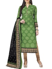 green polyester printed churidaar suit dress material -  online shopping for Dress Material